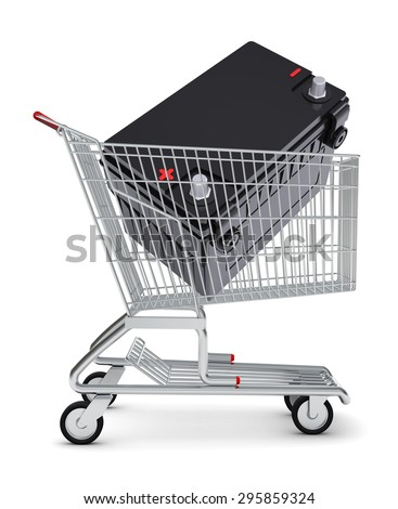 Battery in shopping cart on isolated white background