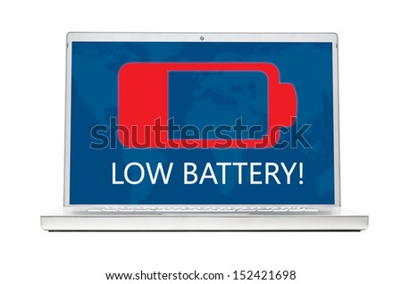 battery is getting low on modern laptop isolated on white background - stock photo