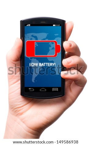 battery is getting low on touch screen phone, cut out from white. - stock photo