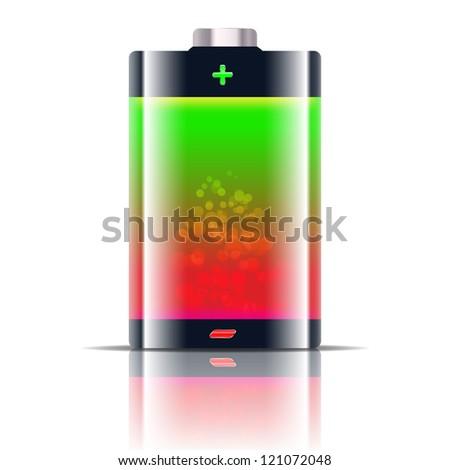 Battery level indicator - stock photo