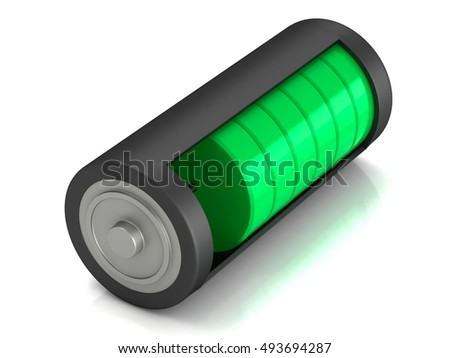 Battery load icon, 3D illustration