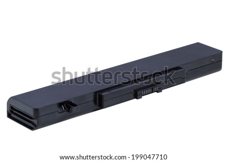 Battery of laptop isolated on white. Clipping path included - stock photo