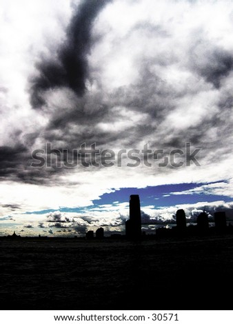Battery Park Thunder Clouds - stock photo