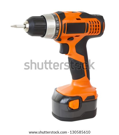 Battery screwdriver isolated over white - stock photo