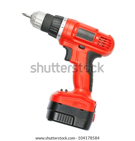 Battery screwdriver or drill isolated over white background - stock photo