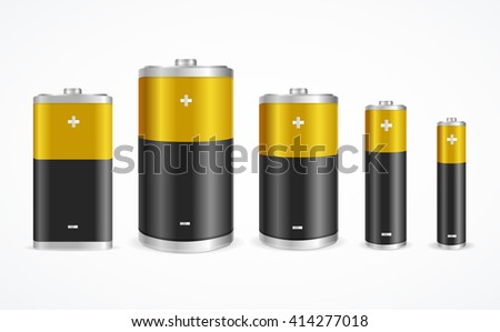 Battery Set Different Sizes on White Background. illustration - stock photo