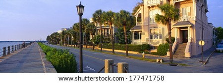 Battery Street Waterfront, Charleston, South Carolina - stock photo
