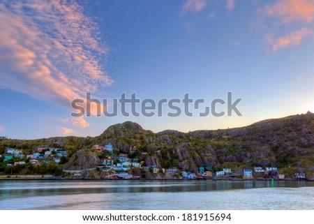 Battery sunset, St. John's, NL, Canada. - stock photo