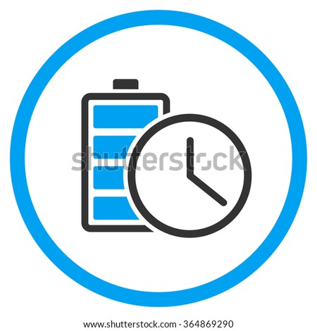 Battery Time glyph icon. Style is bicolor flat circled symbol, blue and gray colors, rounded angles, white background. - stock photo