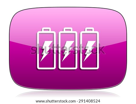 battery violet icon power sign original modern design for web and mobile app on white background with reflection  - stock photo