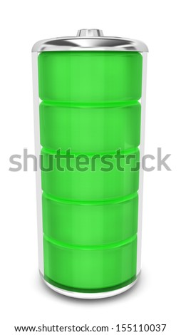 Battery with energy level. 3d illustration on white background