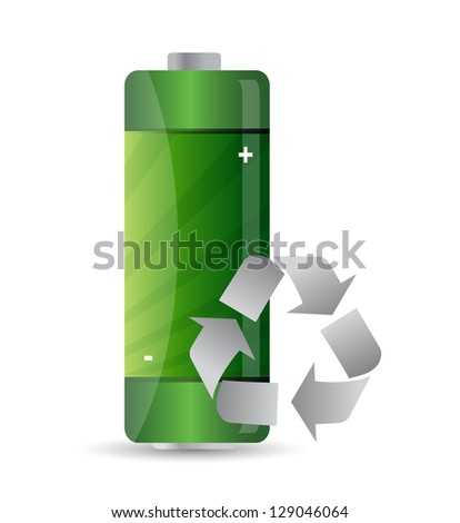battery with recycle sign illustration design over white - stock photo