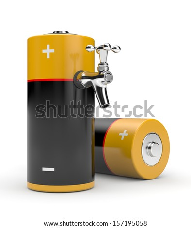 Battery with tap - stock photo