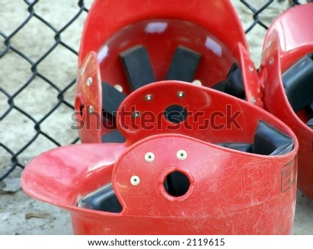 Batting helmets for baseball players. - stock photo