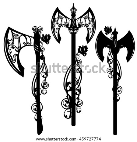battle axe design set - weapon among rose flowers black and white collection
