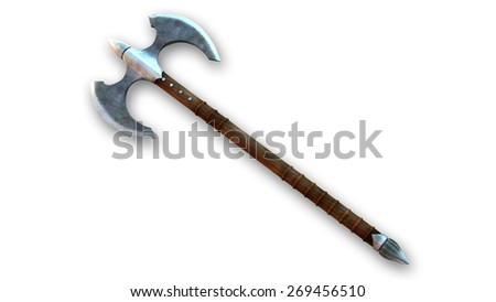 Battle Axe, weapon isolated on white background - stock photo