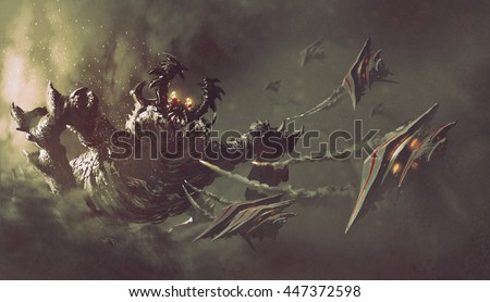 battle between spaceships and monster,sci-fi concept illustration painting - stock photo