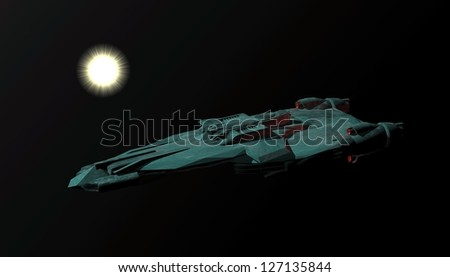 Battle cruiser arriving at star system. Original creation and modeling by the author. - stock photo