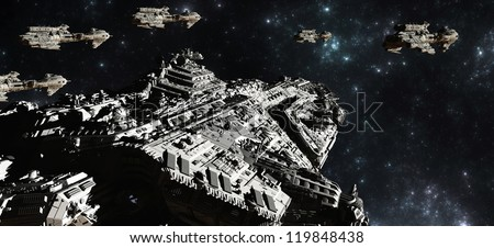 Battle fleet of giant space cruisers and small scout ships, 3d digitally rendered illustration - stock photo