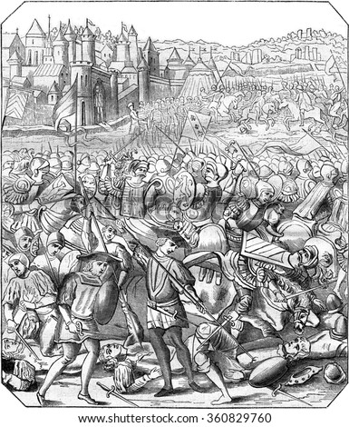 Battle of Nancy, Print the eighteenth century, according to a miniature time, vintage engraved illustration. Magasin Pittoresque 1867. - stock photo