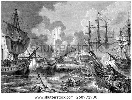 Battle of Navarino, vintage engraved illustration. History of France 1885. - stock photo