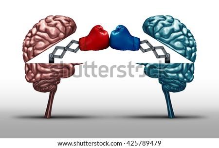 Battle Brains War Wit Concept Two Stock Illustration