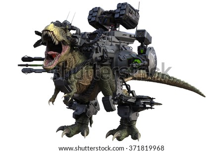 Battle Rex, a cybernetic beast, is armed with dual 25mm rotary cannons, dual particle cannons, dual 80mm grenade launchers, buzz saws, and a missile turret. - stock photo