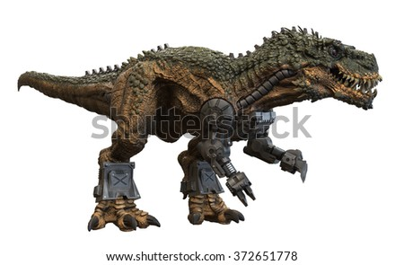 Battle Rex 3D render on isolated white background. - stock photo