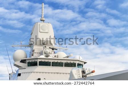 Battle ship with radar and gun. - stock photo
