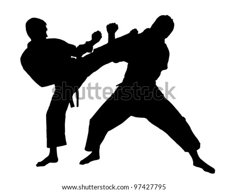 battle throw.Judo.figure in the karate fighting stance on a white background.masters of hand-to-hand fight.silhouette ,graphic - stock photo
