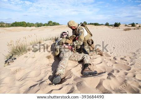 Battlefield medicine in the desert - stock photo