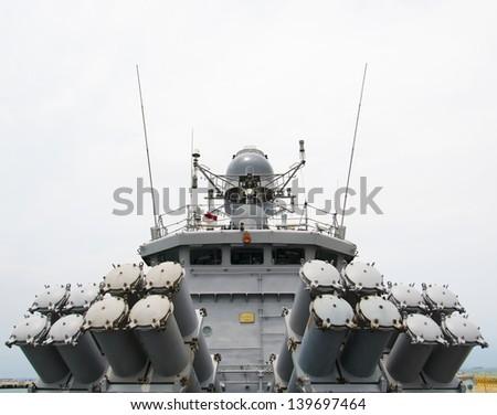 battleship in full battle order - stock photo