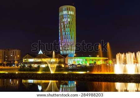 BATUMI, GEORGIA - JULY 09, 2013: Dance shows color-musical fountains. Capital of Adjara - Batumi at night