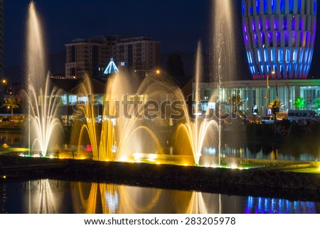 BATUMI, GEORGIA - JULY 09, 2013: Light and music fountain. Capital of Adjara - Batumi at night