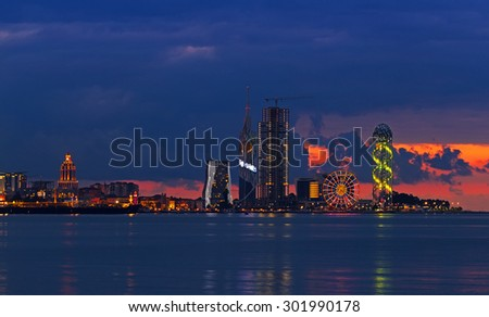 BATUMI, GEORGIA - JULY 20, 2015: Night panorama of Batumi. With a population of 190,000 Batumi serves as an important port and a commercial center.
