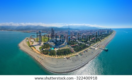 BATUMI, GEORGIA - September 17, 2015: Aerial panorama from flying drone of Batumi -capital of Adjara, Georgia.  - stock photo