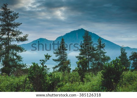 Batur volcano and Agung mountain view at morning from Kintamani, Bali, Indonesia