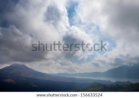 Batur Volcano in Indonesia, Bali and lake at background