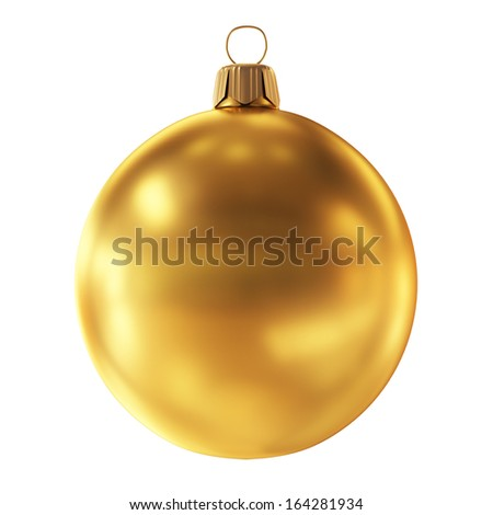 Bauble decoration golden sphere icon.Christmas ball New Year  - stock photo