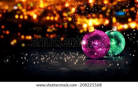 Baubles Christmas Night Bokeh Beautiful 3D Background Purple Green - stock photo
