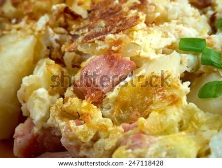 Bauernfruhstuck Farmer's breakfast. German country breakfast dish made ...