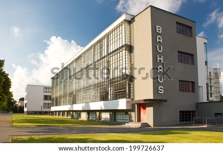 Bauhaus - complex of modern architecture on April 23, 2011, Dessau, Germany. This iconical piece of architecture was designed in 1925 by Walter Gropius and is in UNESCO