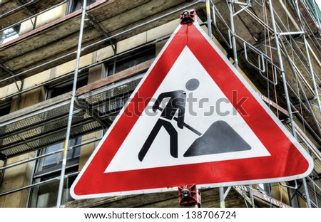 Bauschild - stock photo