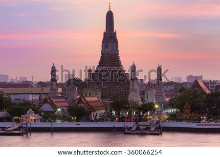 Bautiful sky at Arun temple the most tourist destination of Bangkok Thailand, Vintage tone - stock photo