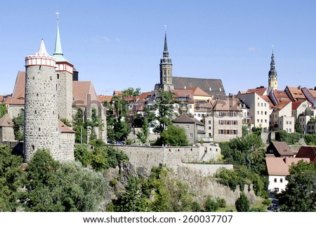 Bautzen, Saxony, Germany - September 13, 2008: View of the Old Town of Bautzen in Saxony with Old Waterworks, Church of Saint Michael, Saint Peter's Cathedral and Town hall tower.