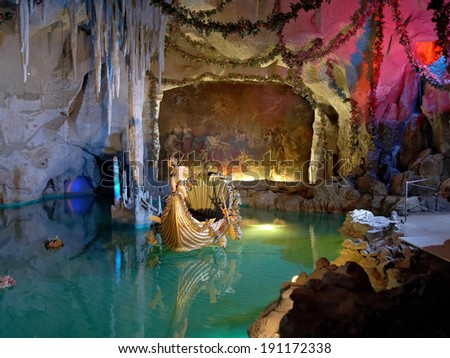 "BAVARIA, GERMANY - AUGUST 28, 2010: Venus Grotto in Linderhof Palace. This artificial cave was built for the king Ludwig II in 1876-1877 as an illustration of the first act of Wagner's ""Tannhauser"". - stock photo"