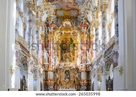 bavaria, Germany - October 24, 2014: wieskirche church in bavaria, Germany, Europe - stock photo