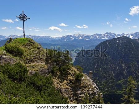 Bavarian Alps, Ammergauer mountains, Germany, summit cross - stock photo