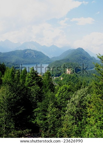 Bavarian Alps with Castle Hohenschwangau in the background. Bavaria, Germany. - stock photo