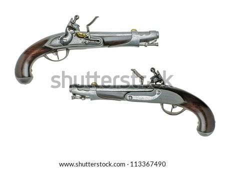 Bavarian antique flintlock pistol - stock photo
